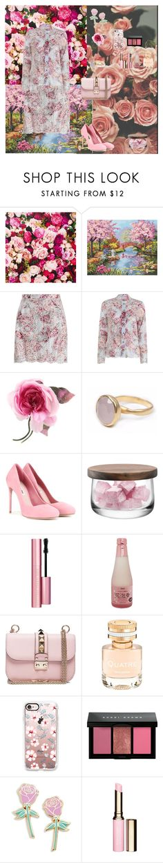 """Pink Flowers"" by oksana-kolesnyk ❤ liked on Polyvore featuring Kate Spade, jcp, Zimmermann, Gucci, Bohemia, Miu Miu, LSA International, Too Faced Cosmetics, Valentino and Boucheron"