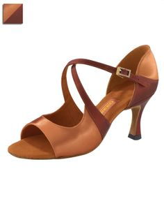light and dark tan satin Latin shoe from Freed of London's Dancesport Collection