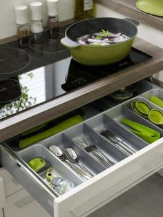 Praktische Ideen Organization Küchenschubladen Küche Grün Topf Kochen