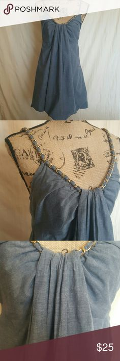 Gracia Bubble Dress CUTE!! Gracia Dress.  Size L.  The straps are accented with gold metal chain!  Zips on side for easy dressing.  It looks like denim but it is lightweight.  100 % Cotton and fully lined! Marcia Dresses Midi