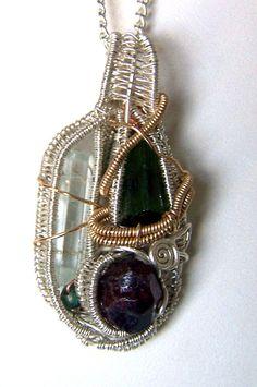 Green Tourmaline Crystal  Aquamarine  Garnet  by mandalarain, $125.00