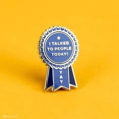Show your social anxiety who's boss, and then reward yourself with this introvert award pin. Congrats on talking to people today! hard enamel pin with gold metal edging comes with rubber clutch and backing card. Anxiety Aesthetic, Cute Sticker, Metal Edging, Bh Set, Bag Pins, Jacket Pins, Cool Pins, Hard Enamel Pin, Pin And Patches