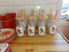 Cookies and milk at a Gingerbread Man Party #gingerbreadman #cookiesmilk