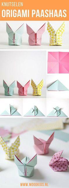 Knutselen voor Pasen. Vouw deze leuke origami paashaasjes in alle kleuren. Samen met de kinderen heb je in no-time een huis vol van deze leukerds. Ga naar de site voor de stap voor stap beschrijving.