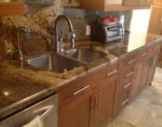 Bring richness and durability to your kitchen with granite kitchen countertops. Kitchen counter tops from granite will outlast your old kitchen countertop! Granite Kitchen, Old Kitchen, Granite Countertops, Laminate Cabinets, Stainless Steel Sinks, Faucet, Chrome, Appliances, Shelves