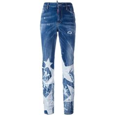Dsquared2 Los Angeles big star jeans ($535) ❤ liked on Polyvore featuring jeans, blue, straight-leg jeans, dsquared2 jeans, blue star jeans, bleached jeans and straight leg jeans