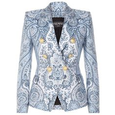 Balmain Brocade Double-Breasted Blazer (9,230 PEN) ❤ liked on Polyvore featuring outerwear, jackets, blazers, blue jackets, double breasted blazer, blue double breasted jacket, brocade blazer and balmain jacket
