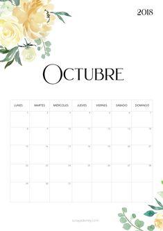 Calendario para imprimir Octubre 2018  #calendario #calendar #octubre #october #freebie #printable #imprimir Printable Planner, Planner Stickers, Free Printables, Freebies Printable, Bullet Journal 2, Lyrics Tumblr, October Calendar, Agenda Planner, Back To School