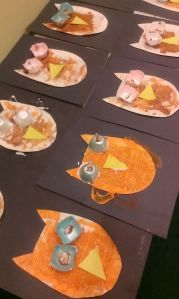 Toddlers' owls!  We made these owls using egg cups for the eyes, old book pages for the body.