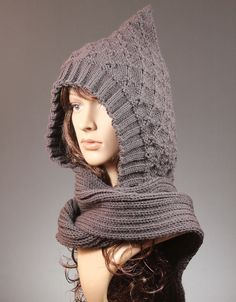 Knit Scoodie Knit Hooded Scarf Hooded Scarf by GoKnitsDotCom.think I would like 1 or 2 of these hooded scarves Easy Crochet Hat, Crochet Hat For Women, A Line Shorts, Sweetheart Prom Dress, Hooded Scarf, All About Fashion, Nice Dresses, Prom Dresses, Knitted Hats