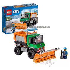 Lego Year 2015 City Series Set #60083 - SNOWPLOW TRUCK with Detachable Blade & Truck Bed, Opening Doors & Salt Spreading Function Plus Drive Figure (Piece: 196)