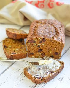This healthy Vegan Pumpkin Bread is made with wholewheat flour & is completely oil-free. It is heartily stuffed with juicy chewy cranberries & crunchy pumpkin seeds & is perfect for breakfast or snacking!