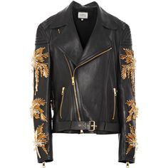 Fausto Puglisi Calf Leather Moto Jacket With Palm Tree Embroidery (549,150 CNY) ❤ liked on Polyvore featuring outerwear, jackets, coats & jackets, rider jacket, calfskin jacket, embroidery jackets, calfskin leather jacket and zipper jacket