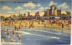 Vintage Postcard - North Ave Beach, Chicago by riptheskull, via Flickr