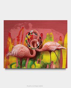 Estampe numérique signé Gohu Année : 2019 Format : 48 x 36 pouces (Oiseau - Flamant rose) Moose Art, Painting, Animals, Greater Flamingo, Printmaking, Ink, Drawing Drawing, Animais, Animales