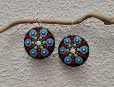 Mandala wooden earrings 03 Mandala gift Blue orange by Mandalaole