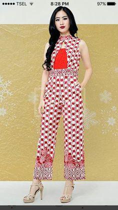 Model Dress Batik, Batik Dress, Batik Fashion, Ethnic Fashion, Womens Fashion, Batik Kebaya, Blouse Batik, Designer Jumpsuits, Brokat