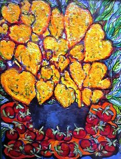 Heart flowers, cherries, heavily painted impasto, glazed, varnished, expressionistic vivid painting.