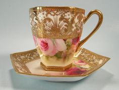 ☕   Nippon Chocolate Cup and Saucer Jewels Hand Painted Roses