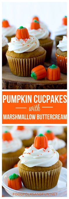 These pumpkin cupcakes are spiced, not too sweet, and topped with marshmallow buttercream. | Pumpkin | Pumpkin Recipe | Pumpkin Dessert | Pumpkin Spiced | Fall Dessert | Fall Recipe