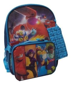 "Disney Big Hero 6 Boys Large 16"" School Backpack Detach Lunch Box Bag Pencil Kit"