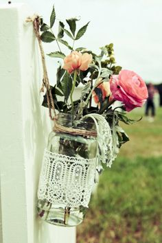 Pretty lace wrapped planters!