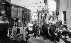 Arbus anni 50, processione  per S.Antonio con buoi infiorati.