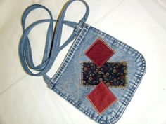 POCKET PURSE Denim Blue Jean Repurposed  Calico Patches Gold Stitching by APERFECTSTITCH on Etsy