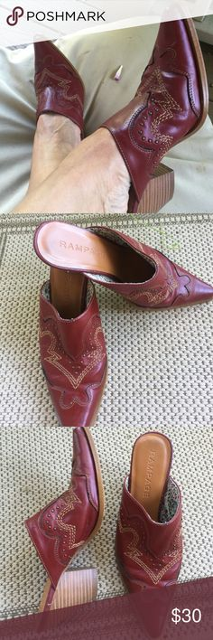 """Rampage Mules Size 8 $20 Rampage """"Ramble"""" Red Western Style Mules Size 8 $20 Excellent Condition -Cute with Jeans and a western shirt 👠🙌 Rampage Shoes Mules & Clogs"""