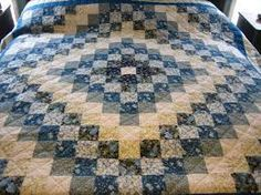 Trip Around The World/Star log cabin quilt pattern. Love the blues!