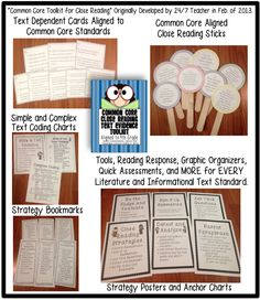 Grade Common Core: Tools for Close Reading, Assessment & Reading Response Close Reading Strategies, Reading Skills, Teaching Reading, Guided Reading, Learning, Reading Assessment, Reading Response, Common Core Ela, Common Core Reading