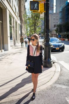 Outfit Details: Look Red Valentino Dress, Miu Miu Sunglasses & Bag, Chanel Oxfords (similar here and here), Michael Kors… Winter Fashion Outfits, Autumn Winter Fashion, Spring Outfits, Fashion Line, Modest Fashion, Beautiful Outfits, Cute Outfits, Red Valentino Dress, Gal Meets Glam