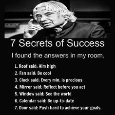 Secret of succes Apj Quotes, Life Quotes Pictures, People Quotes, Wisdom Quotes, Words Quotes, Qoutes, Sayings, Humour Quotes, Real Life Quotes
