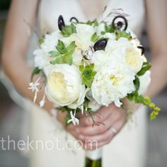 bouquet of garden roses, jasmine, maidenhair ferns and succulents.