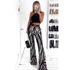 Black Swirl Sequin Kick Flare Trousers It's time to up your party game with a pair of this seasons most wanted trophy trousers Jumpsuit With Sleeves, Swirl Pattern, Color Blocking, Kicks, Pants For Women, Trousers, Sequins, Crop Tops, Sexy