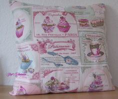 Kissen Kissenhülle Bezug Retro Nostalgie Cupcake Törtchen Schrift Handmade
