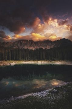 Sunset on Carezza Lake