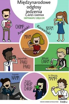 How Kissing, Barking, And Different Issues Sound In Completely different Languages James Chapman is a younger Manchester-based physicist and designer who makes witty posters and cartoons that present how widespread phrases and expres. James Chapman, Natural Snoring Remedies, French Practice, Korean English, Polish Language, Different Languages, World Languages, New Words, Bts Memes