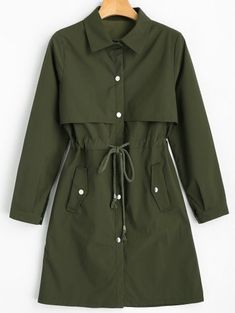 SHARE & Get it FREE | Snap Button Drawstring Waist Plain Trench Coat - Army Green MFor Fashion Lovers only:80,000+ Items • New Arrivals Daily Join Zaful: Get YOUR $50 NOW!
