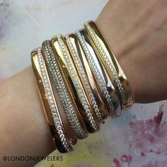 It's hip to be a square--- obsessed with these rectilinear bangles from @londonjewelers! . . . #londonjewelers #armparty #diamonds #gold #style #luxury #love #longisland #nyc
