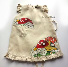 Beige Lace girl linen dress - lace-painted dress - Hand painted - ON ORDER ONLY - children summer clothing - amanita - girl dress - mushroom