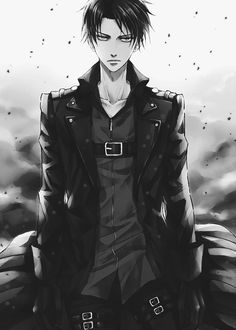 Levi Ackermann - Shingeki no Kyojin fanart, phone or iPhone wallpaper. Levi wearing black coat, gloves, and having dangerous air around him. Attack on Titan Anime Sexy, Anime Sensual, Hot Anime Guys, I Love Anime, Awesome Anime, Anime Boys, Eren E Levi, Attack On Titan Levi, Armin