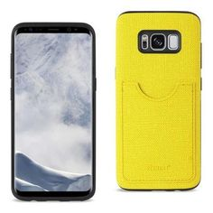 REIKO SAMSUNG GALAXY S8 EDGE/ S8 PLUS ANTI-SLIP TEXTURE PROTECTOR COVER WITH CARD SLOT IN YELLOW
