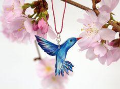 Vogelkette  KOLIBRI Nr. 57  Unikat  blau