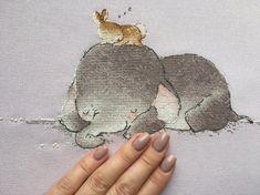 Sleeping Baby Elephant Cross Stitch Pattern by SVS | Craftsy