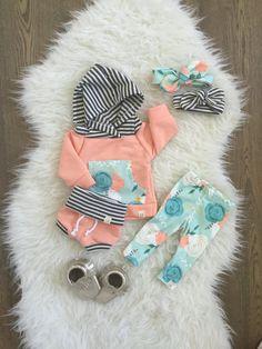 Pfirsich-Jahrgang stieg Baby-Hoodie Neugeborenes von ShopLuluandRoo