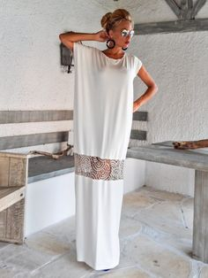Ivory Maxi Dress Kaftan with Lace Mesh Details / Asymmetric Open Back Dress / Oversize Loose Dress / #35086 This elegant, sophisticated, loose and comfortable maxi dress, looks as stunning with a pair of heels as it does with flats. You can wear it for a special occasion or it can be your comfortable dress. - Handmade item - Materials : viscose, stretch cotton, beige lace mesh * Viscose is a very soft stretch fabric, thin, comfortable and it drapes beautifully. * Stretch cotton is a thi...