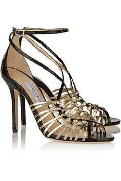 f19dc0b15df Jimmy Choo - Legia elaphe and metallic leather sandals