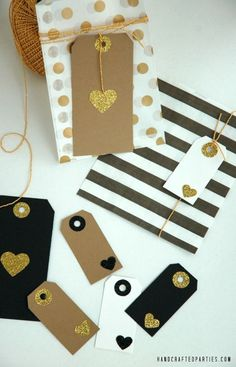 DIY Glitter Heart Gift Tags in black, white, kraft + gold {Handcrafted Parties}