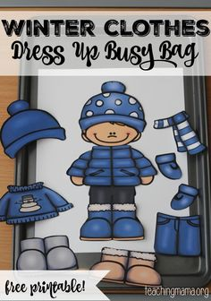 Clothes Dress Up Busy Bag Winter Clothes Dress Up Busy Bag {Free Printable} - fun to add to winter unit!Winter Clothes Dress Up Busy Bag {Free Printable} - fun to add to winter unit! Preschool Learning, Classroom Activities, In Kindergarten, Toddler Activities, Learning Activities, Preschool Classroom, Preschool Winter, Preschool Seasons, Color Activities